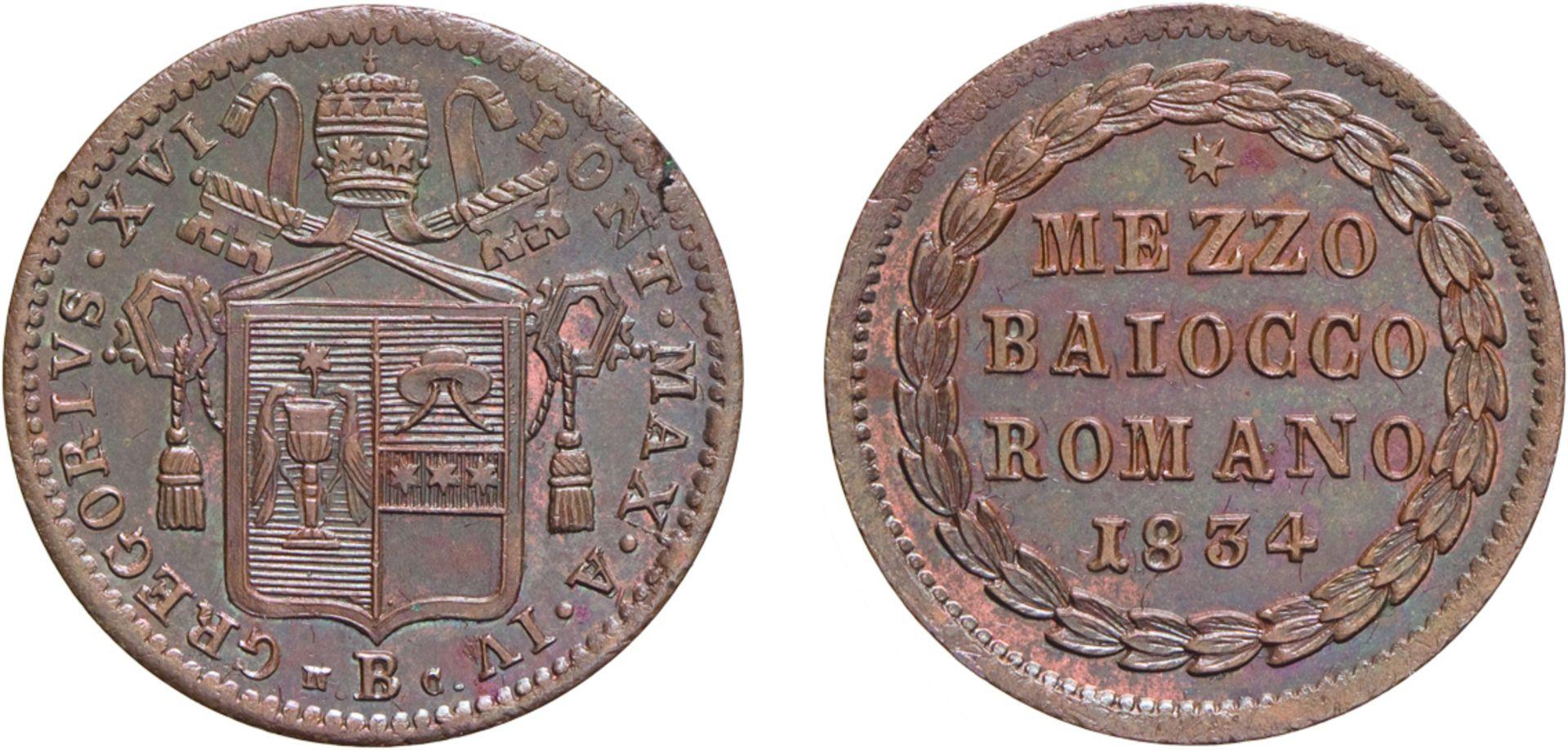 Los 450 - MONETE PAPALI. GREGORIO XVI (1831-1846). MEZZO BAIOCCO 1834 A. IV