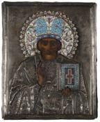 ICONA RAFFIGURANTE SAN NICOLA CON RIZA IN ARGENTO E SMALTI, MOSCA, 1908-1917, ORAFO S. AKMAKOV