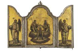 ICONA A TRITTICO RAFFIGURANTE L'INCORONAZIONE DELLA VERGINE CON MONTATURA IN ARGENTO, MOSCA, 1854, O