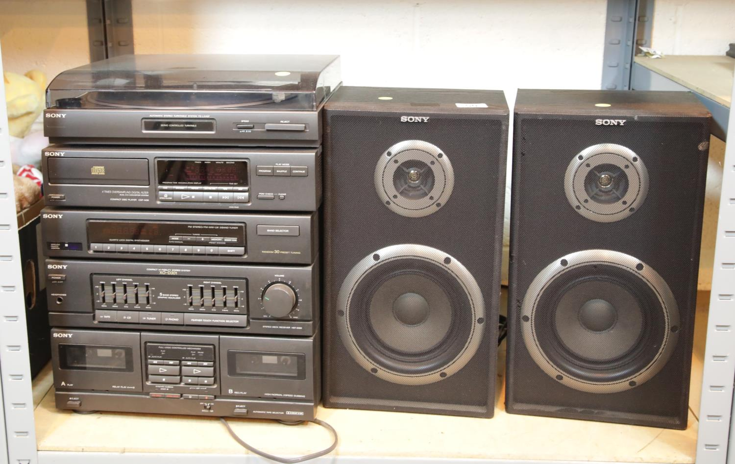 Lot 50 - Sony stack HiFi system, two speakers, CDs and cassettes etc. This lot is not available for in-