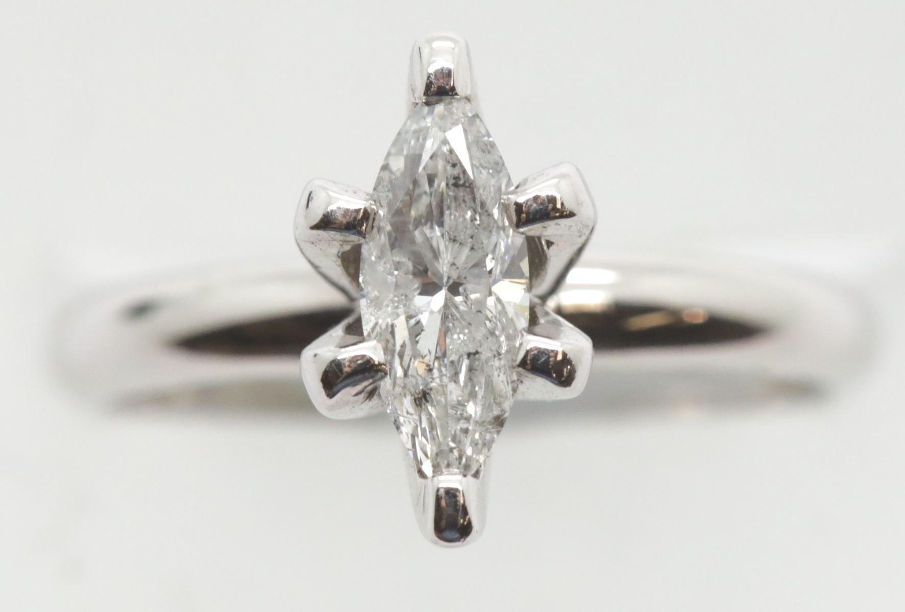 Lot 1023 - Ladies marquise set 0.67ct diamond solitaire ring, size L, 4.2g. P&P Group 1 (£14+VAT for the