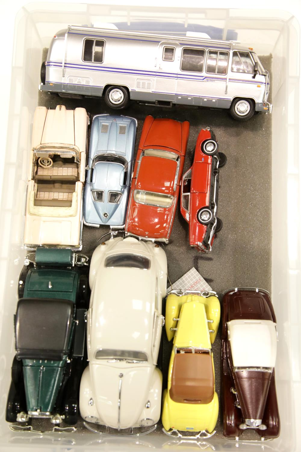 Lot 669 - Nine unboxed vehicles to include diecast, Matchbox, Franklin Mint, Solido etc including Airstream
