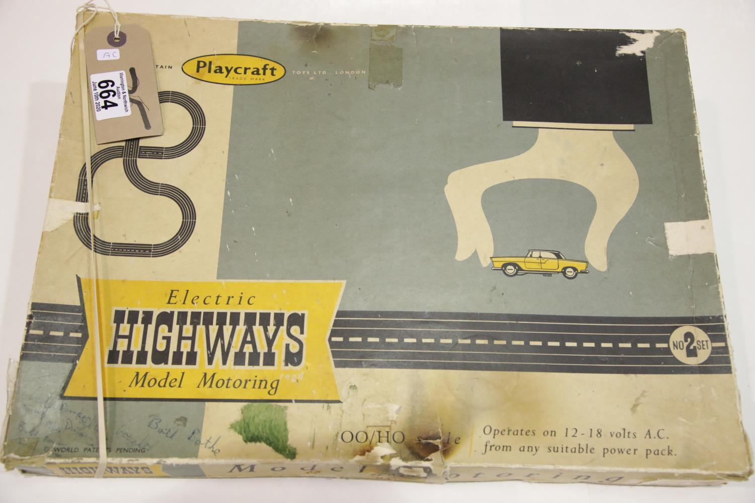 Lot 664 - Playcraft Electric Highways model slot car set with cars, track, controllers, instructions etc P&P