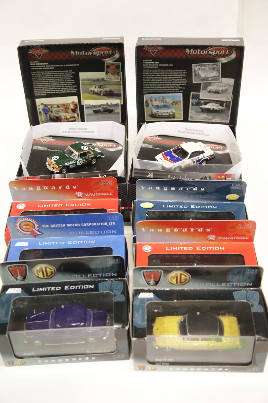 Lot 666 - Eight diecast Vanguards including: Triumph Try rally car, MGB rally car, Rover P4, Rover P6, Triumph