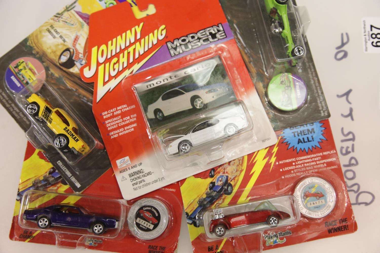 Lot 687 - Five Johnny Lightning diecast vehicles: Wacky Winners T'Rantula, Modern Muscle Monte Carlo,