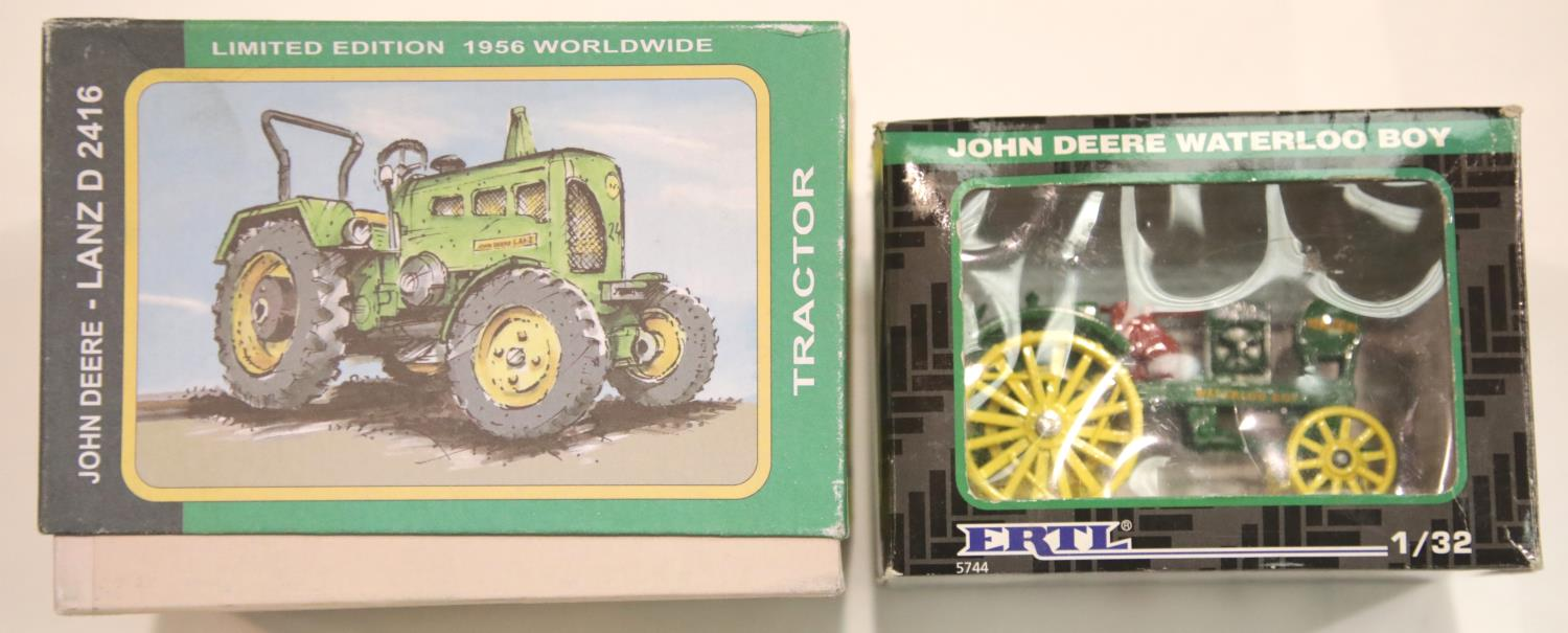 Lot 667 - Kovap-Clockwork John Deere Lanz D tractor 1/25 scale and an ERTL John Deere Waterloo Boy tractor 1/