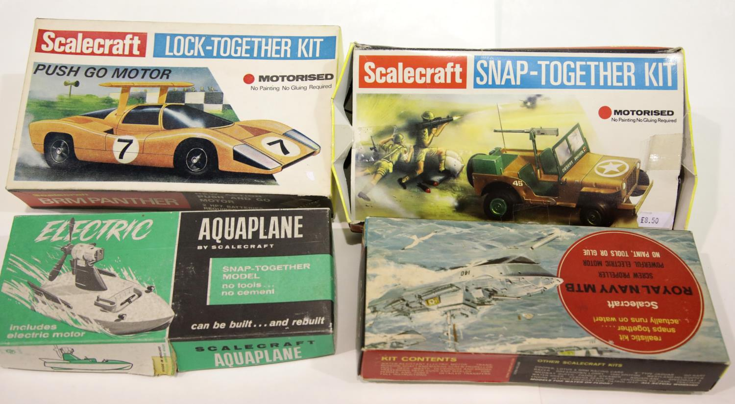 Lot 662 - Scalecraft plastic model kits including: Aquaplane, Willys Jeep, BRM Panther racing car, Royal