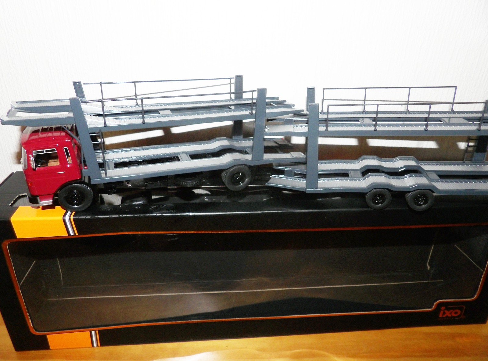 Lot 707 - 1.43 Scale MAN Car Transporter with 2 Deck Trailer. P&P Group 1 (£14+VAT for the first lot and £1+