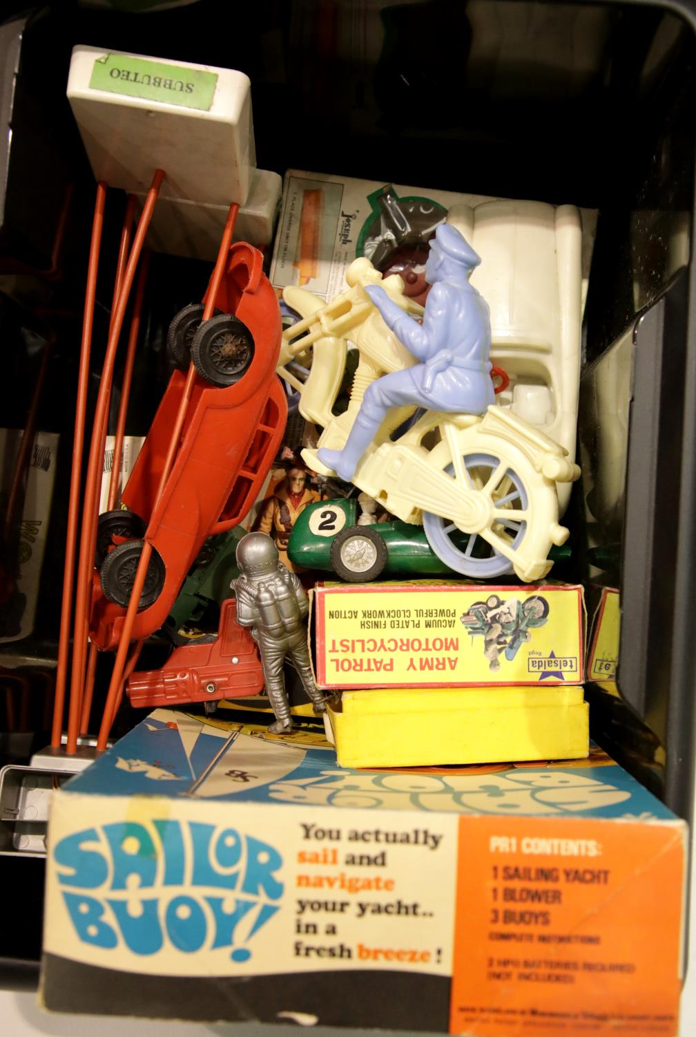 Lot 660 - Quantity of plastic toys including Triang Sailor Buoy, floodlights (x2) model cars, motorcycles etc.