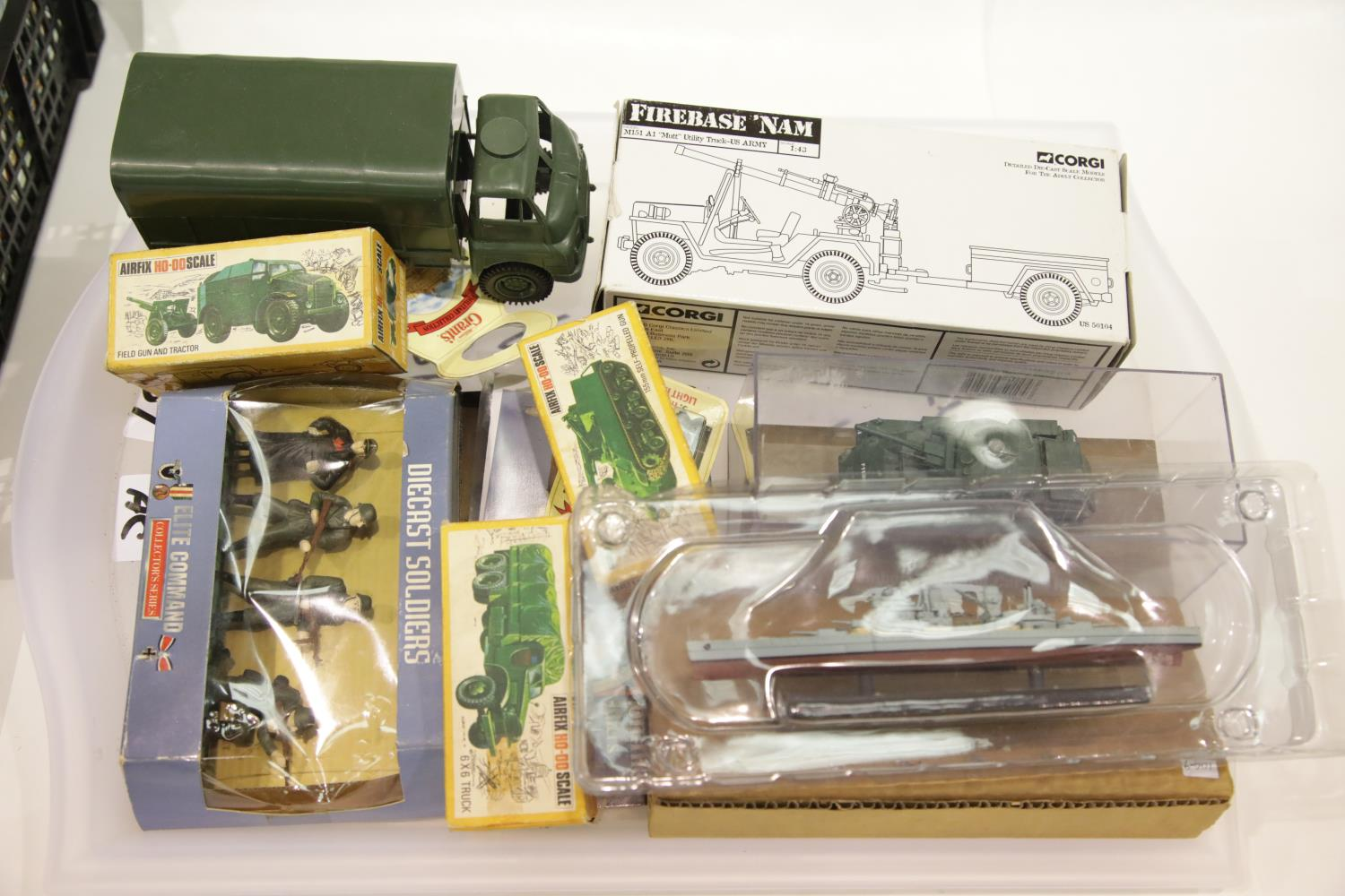 Lot 680 - Military related: Corgi US50104 Mutt Utility and trailer, Elite Command soldiers, Humber armoured