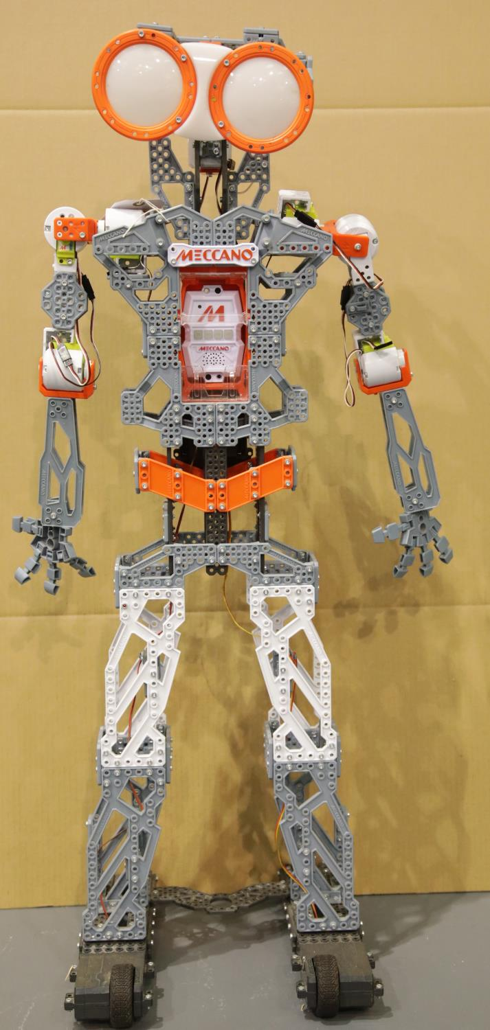 Lot 652 - Large built Meccano robot H: 120 cm, Battery powered unchecked. This lot is not available for in-