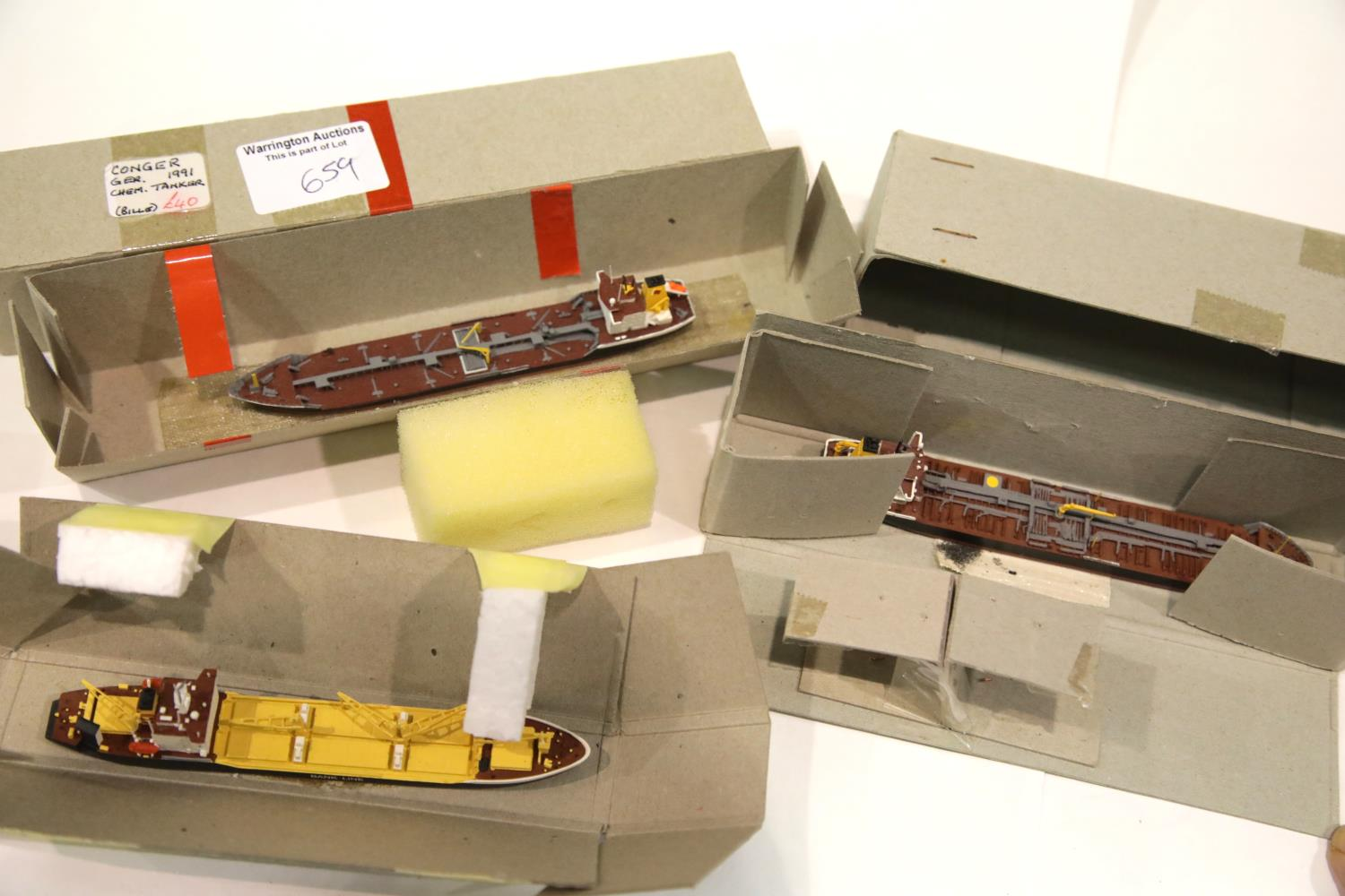 Lot 659 - Three 1:1250 Scale Model Ships to Include: Speybank, Conger, Seadevil, all boxed.P&P Group 1 (£14+