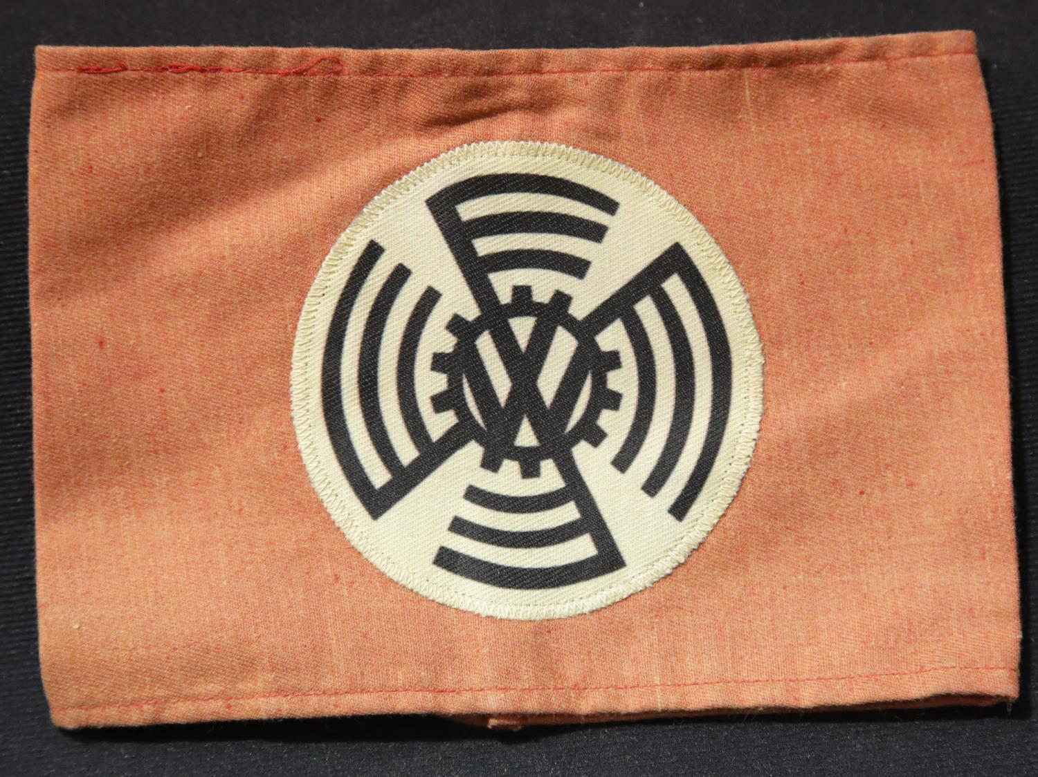 Lot 241 - WWII style early KDF VW factory workers armband. P&P Group 1 (£14+VAT for the first lot and £1+VAT