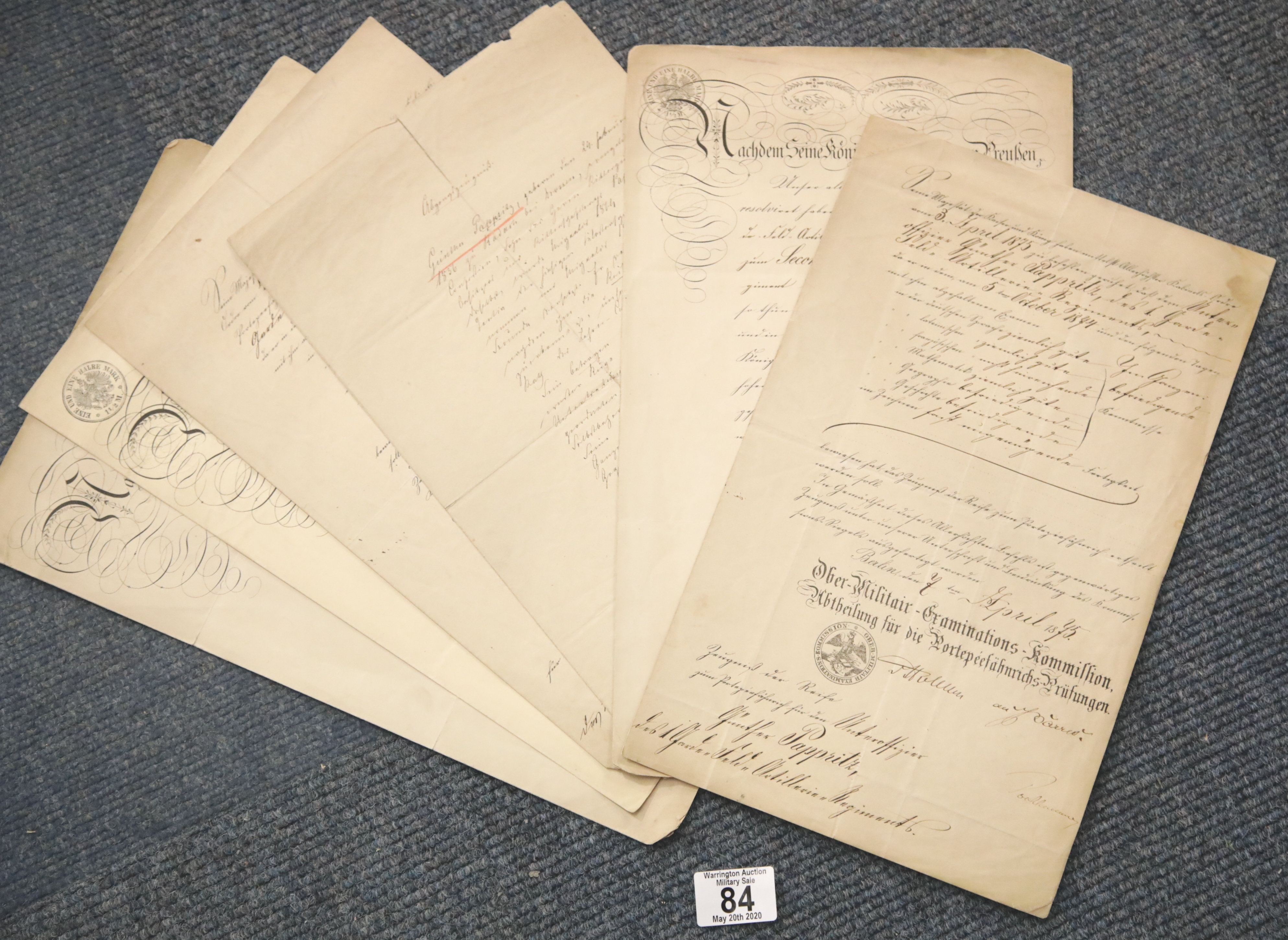 Lot 84 - Collection of German military documents relating to army promotions c1870's. P&P Group 1 (£14+VAT