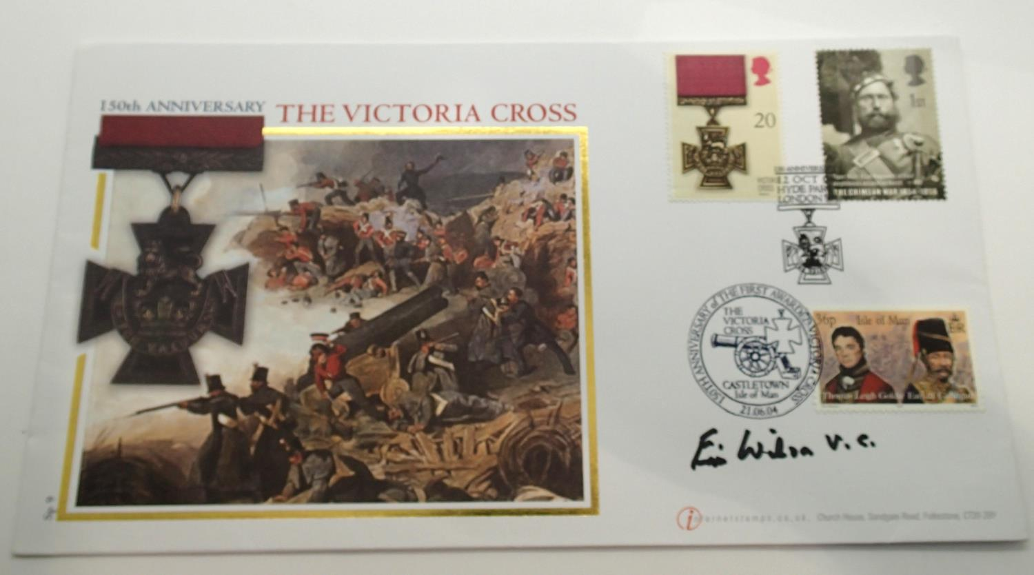Lot 90A - 150th Anniversary of the Victoria Cross stamp cover signed by Lieutenant Colonel ECT Wilson VC, With
