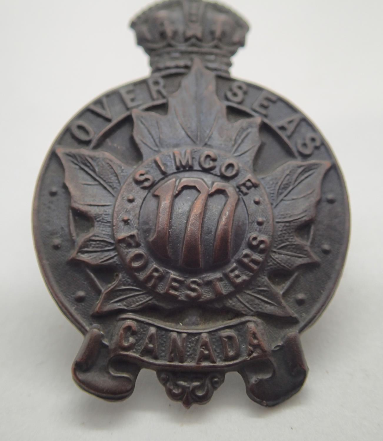 Lot 399 - WWI type CEF cap badge 177th battalion Simcoe Foresters. P&P Group 1 (£14+VAT for the first lot