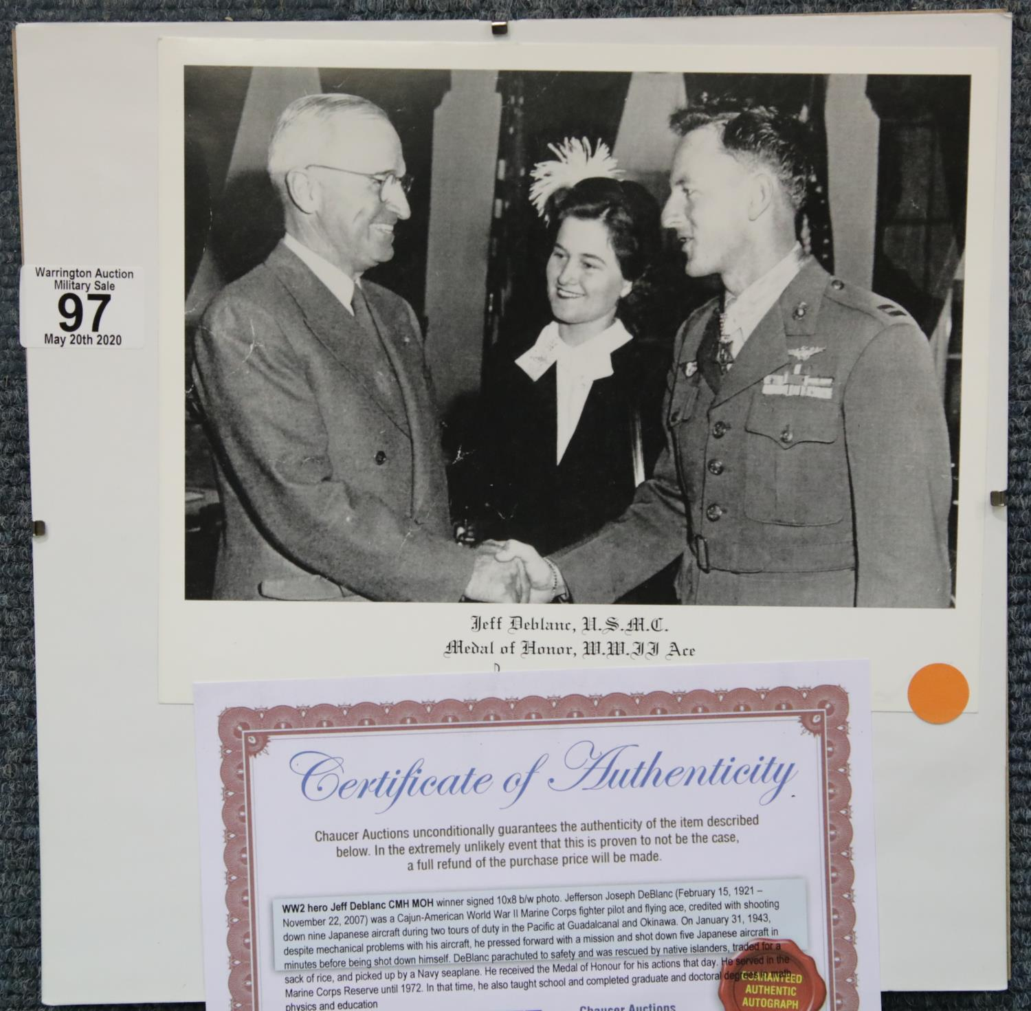 Lot 97 - Signed Jeff Deblanc photograph, a Cajun American WWII Marine Corps fighter ace and Medal of Honour
