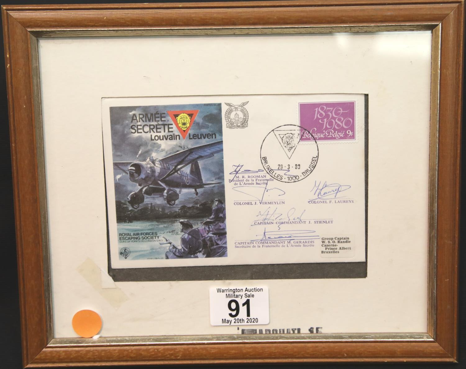 Lot 91 - Signed Belgian Secret Army stamped envelope for the Royal Air Forces Escaping Society. P&P Group