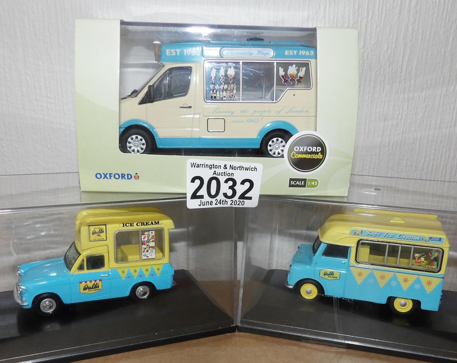 Lot 2032 - Oxford x 3 1.43 Scale Mixed Ice Cream Vans. P&P Group 2 (£18+VAT for the first lot and £2+VAT for