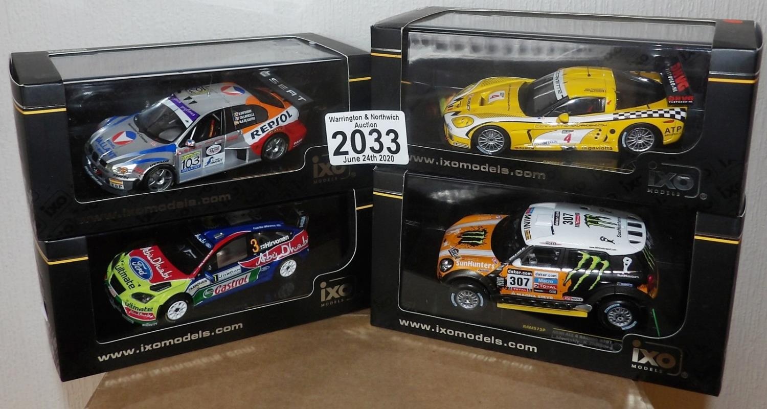 Lot 2033 - IXO X 4 1.43 Scale Mixed Rally/Race cars. P&P Group 2 (£18+VAT for the first lot and £2+VAT for