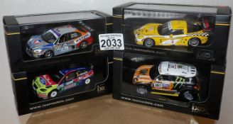 IXO X 4 1.43 Scale Mixed Rally/Race cars. P&P Group 2 (£18+VAT for the first lot and £2+VAT for