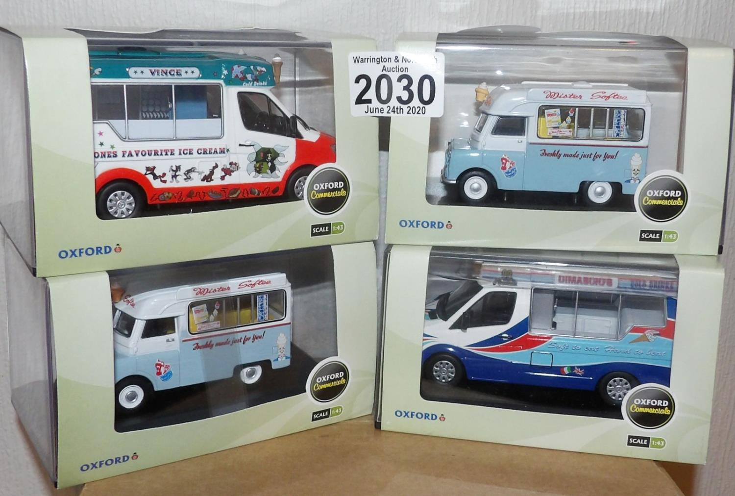 Lot 2030 - Oxford x 4 1.43 Scale Mixed Ice Cream Vans. P&P Group 2 (£18+VAT for the first lot and £2+VAT for
