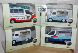 Oxford x 4 1.43 Scale Mixed Ice Cream Vans. P&P Group 2 (£18+VAT for the first lot and £2+VAT for