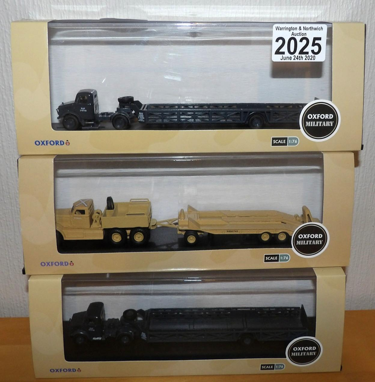 Lot 2025 - Oxford 1.76 Scale x 3 Military Vehicles 2 Bedford RAF Queen Mary and Tank Transporter. P&P Group