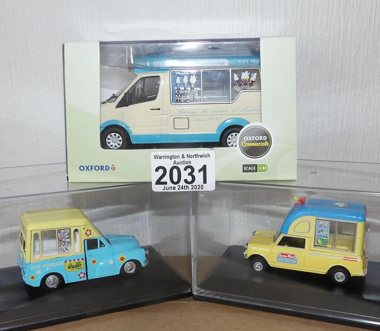 Lot 2031 - Oxford x 3 1.43 Scale Mixed Ice Cream Vans. P&P Group 2 (£18+VAT for the first lot and £2+VAT for