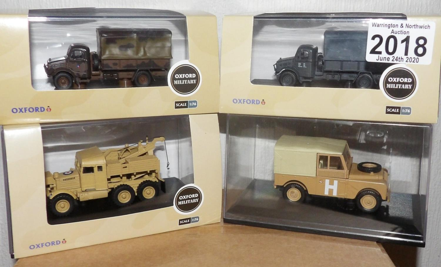 Lot 2018 - Oxford 1.76 Scale x 4 Mixed Military Vehicles. P&P Group 2 (£18+VAT for the first lot and £2+VAT for