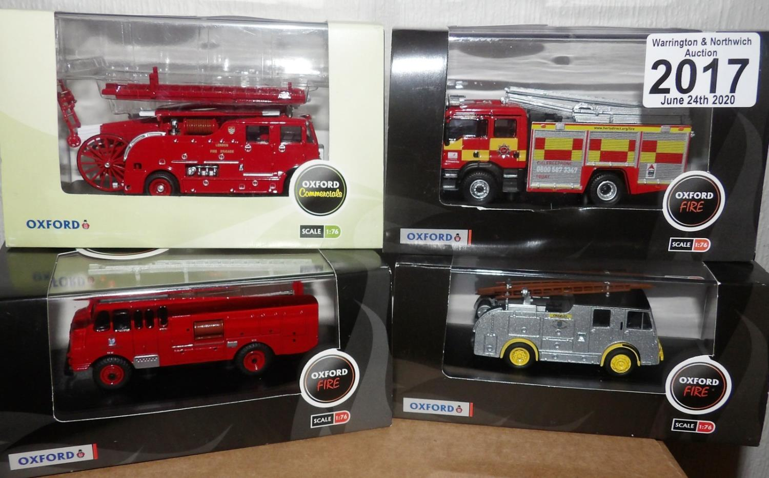 Lot 2017 - Oxford 1.76 Scale x 4 Mixed Fire Engines. P&P Group 2 (£18+VAT for the first lot and £2+VAT for
