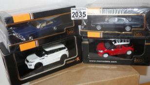 IXO X 4 1.43 Scale x 2 Jaguar + 1 Mini + 1 Premium X Land Rover Evoque. P&P Group 2 (£18+VAT for the