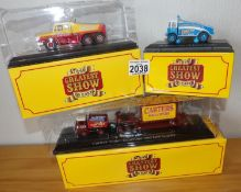 Atlas x 3 Greatest Show on Earth AEC Crane, Austin Bros Scammell, Carters Foden. P&P Group 2 (£18+
