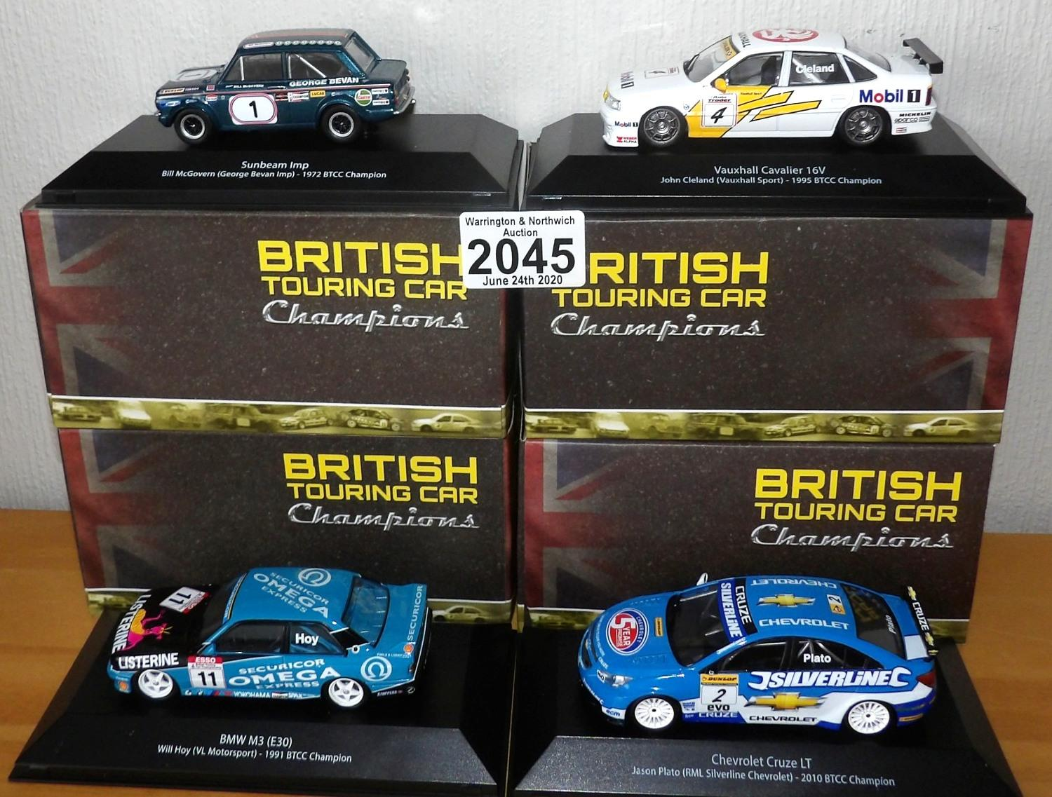 Lot 2045 - Atlas Collections x 4 1.43 Scale British Touring Cars No?s 101, 103, 104, 107. P&P Group 2 (£18+