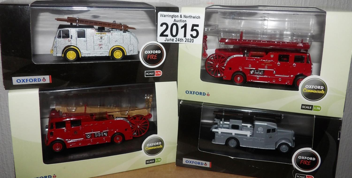 Lot 2015 - Oxford 1.76 Scale x 4 Mixed Fire Engines. P&P Group 1 (£14+VAT for the first lot and £1+VAT for