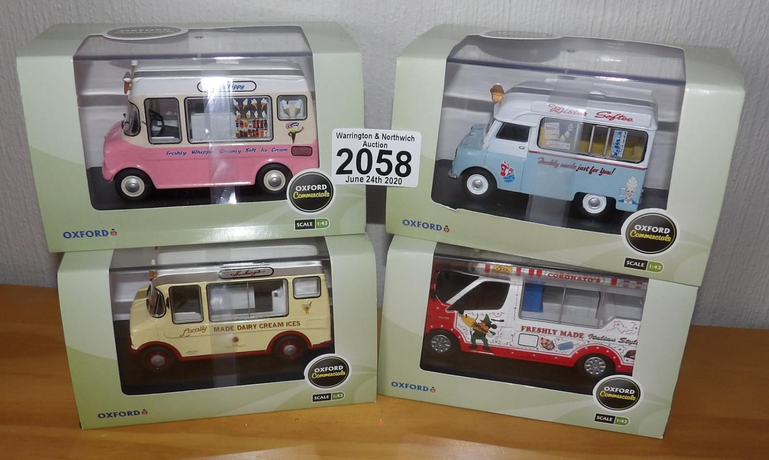 Lot 2058 - Oxford 1.43 Scale x 4 Mixed Ice Cream Vans. P&P Group 2 (£18+VAT for the first lot and £2+VAT for