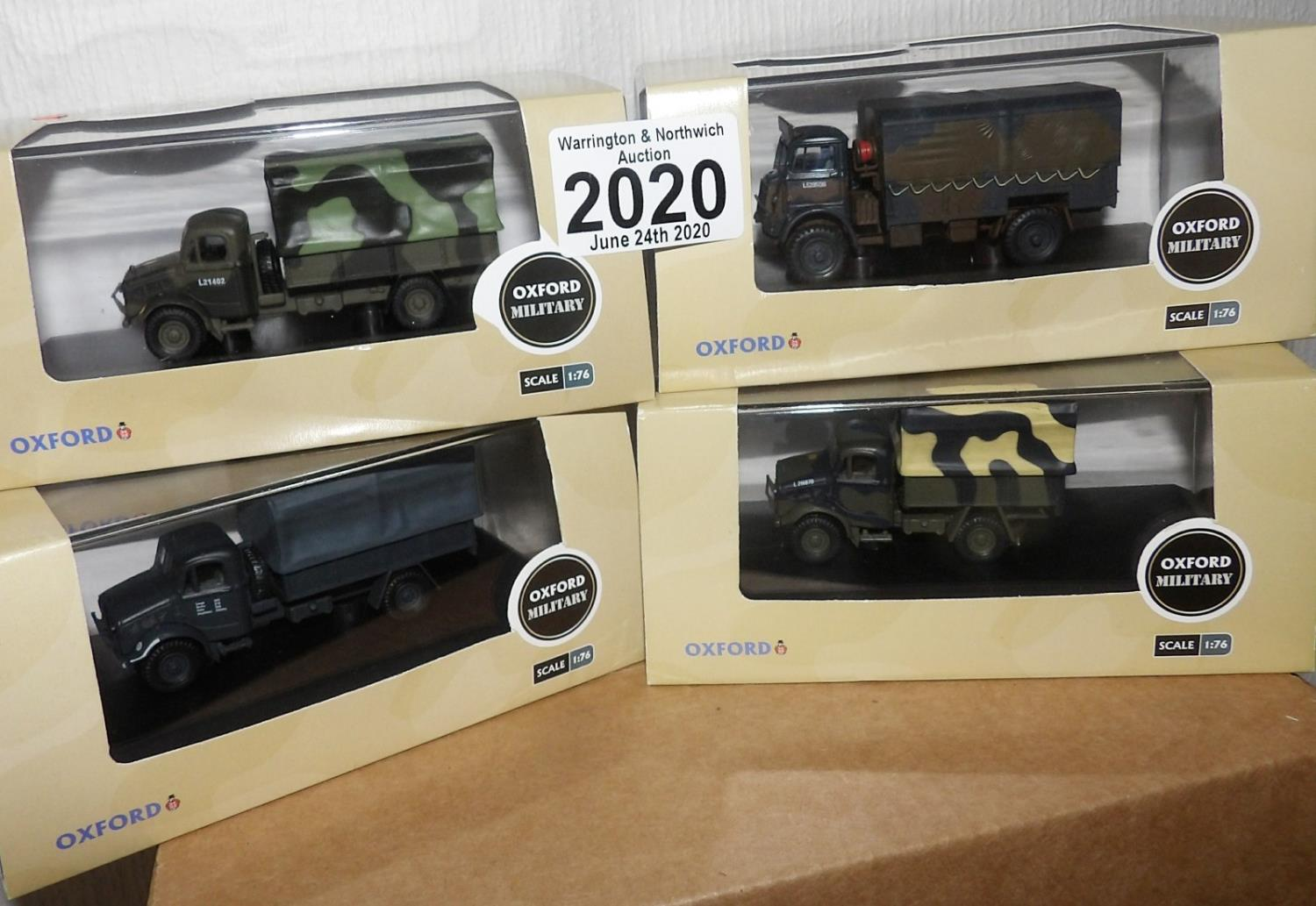 Lot 2020 - Oxford 1.76 Scale x 4 Mixed Military Vehicles. P&P Group 2 (£18+VAT for the first lot and £2+VAT for