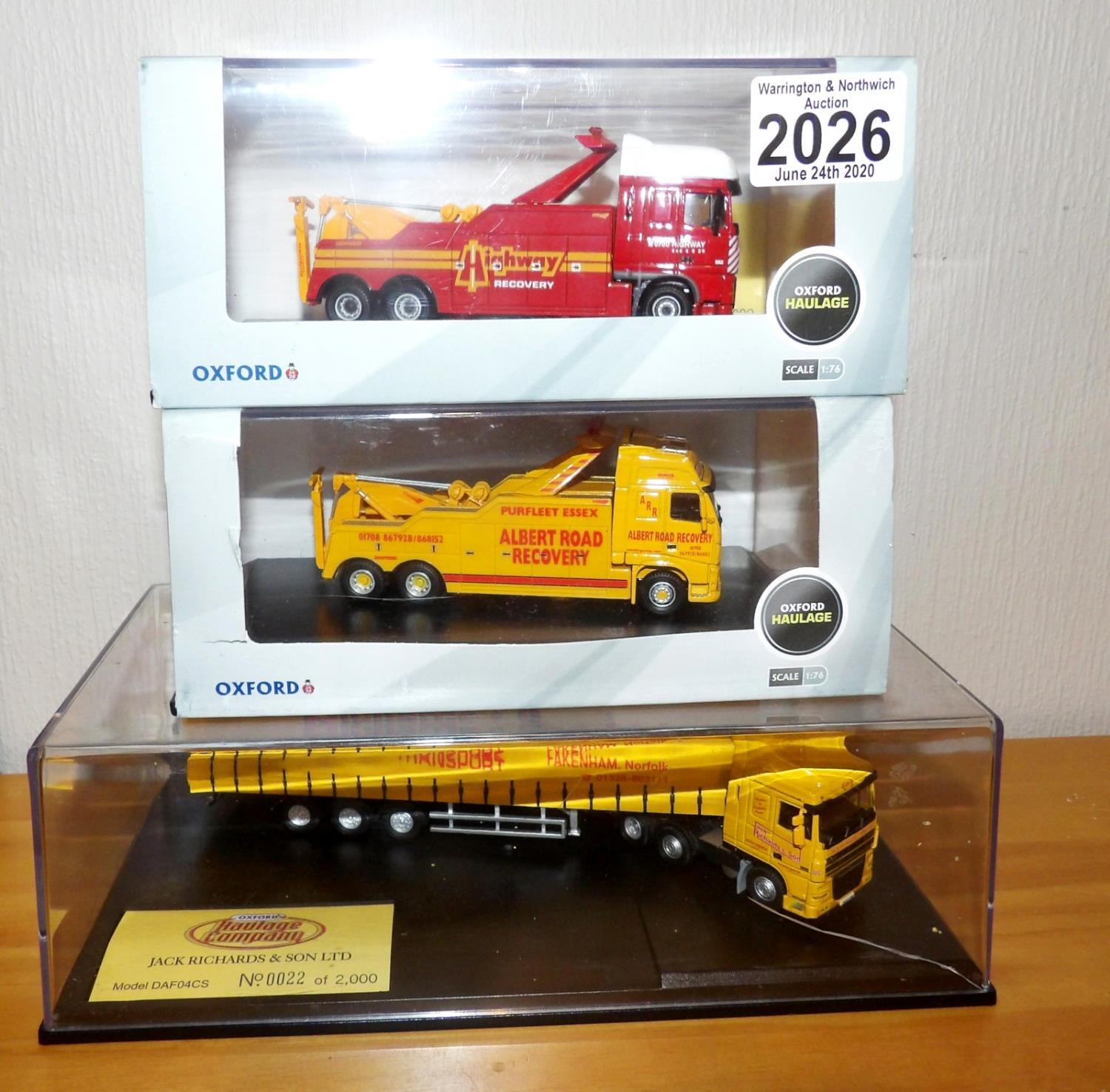 Lot 2026 - Oxford 1.76 x 3 2 x Recovery Vehicles and DAF Jack Richards Haulage Ltd Edition. P&P Group 2 (£18+