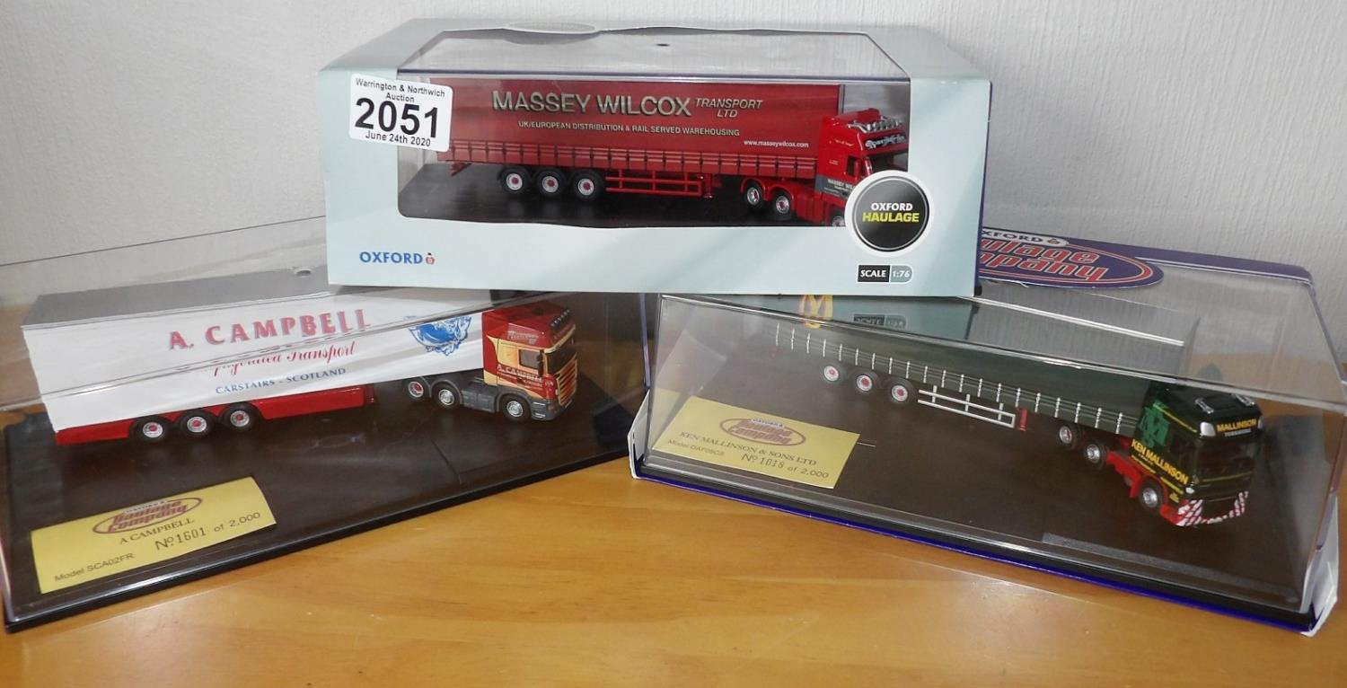 Lot 2051 - Oxford Haulage 1.76 x 3 Massey Wilcox, Mallinson, Campbell Ltd Editions. P&P Group 2 (£18+VAT for