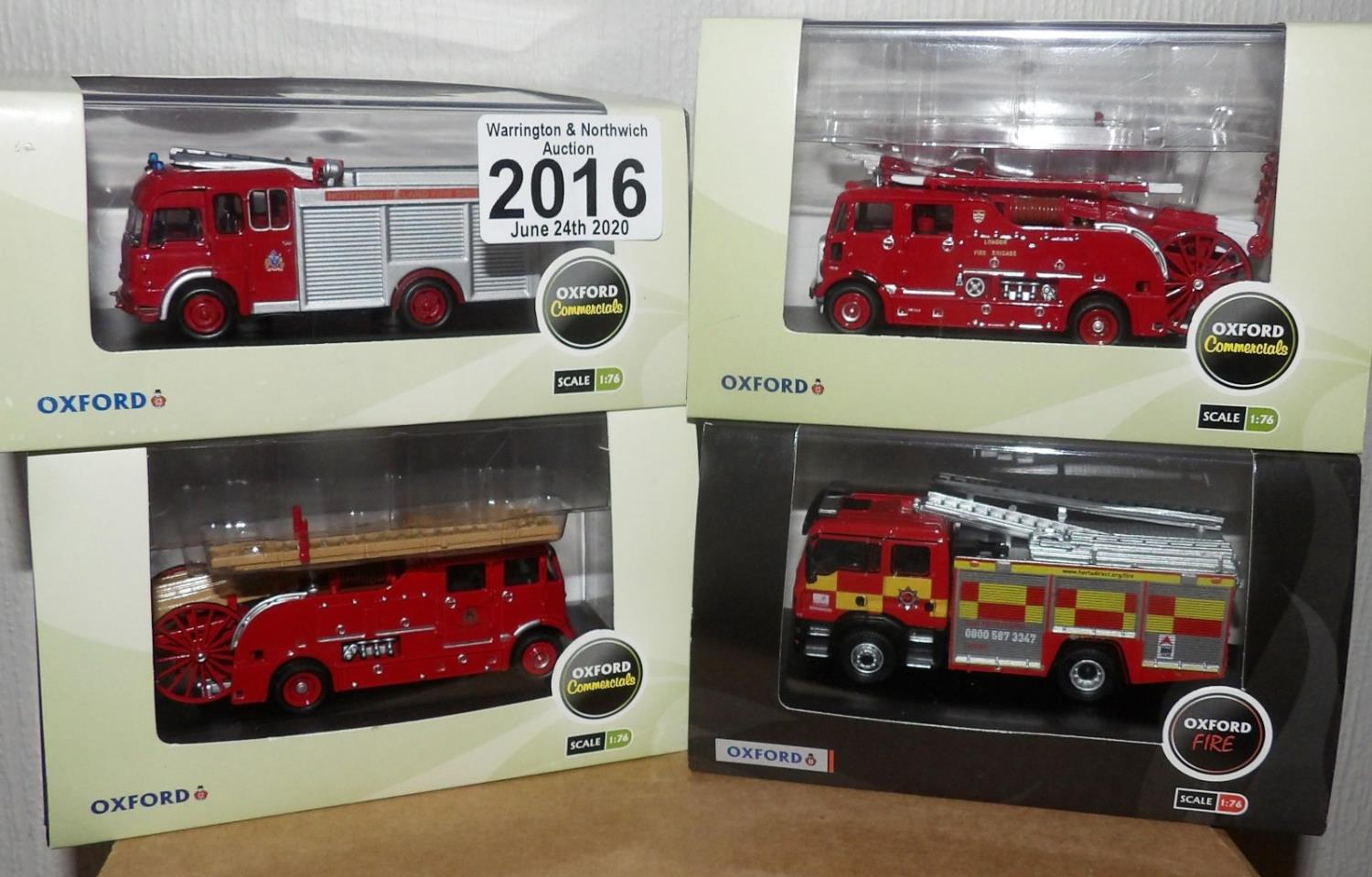 Lot 2016 - Oxford 1.76 Scale x 4 Mixed Fire Engines. P&P Group 2 (£18+VAT for the first lot and £2+VAT for