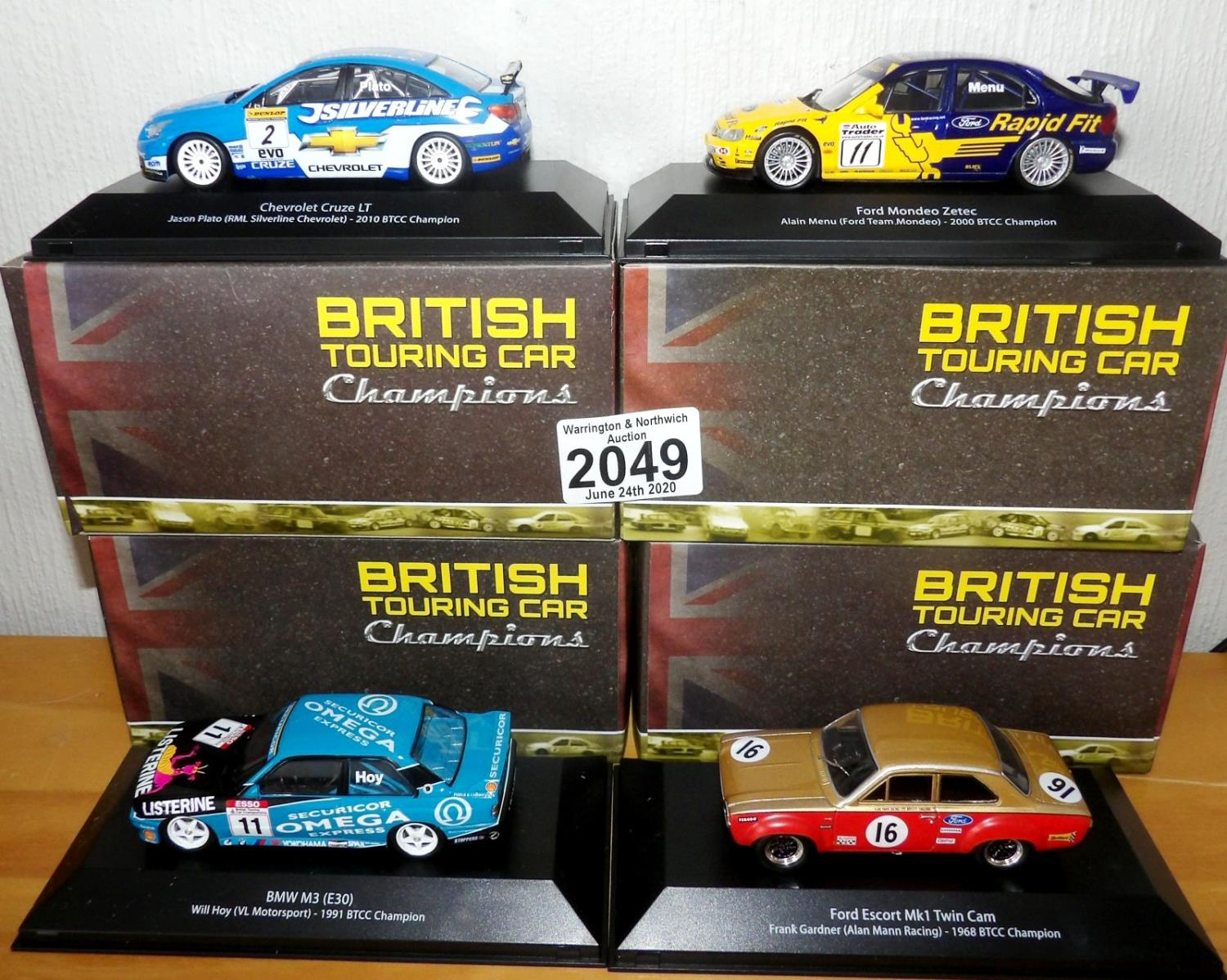 Lot 2049 - Atlas Collections x 4 1.43 Scale British Touring Cars No?s 101, 102, 103, 108. P&P Group 2 (£18+