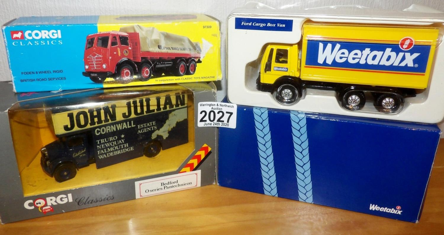 Lot 2027 - Corgi x 3 Mixed Vehicles inc 1.50 Scale FODEN British Road Services 8 Wheel with Load. P&P Group