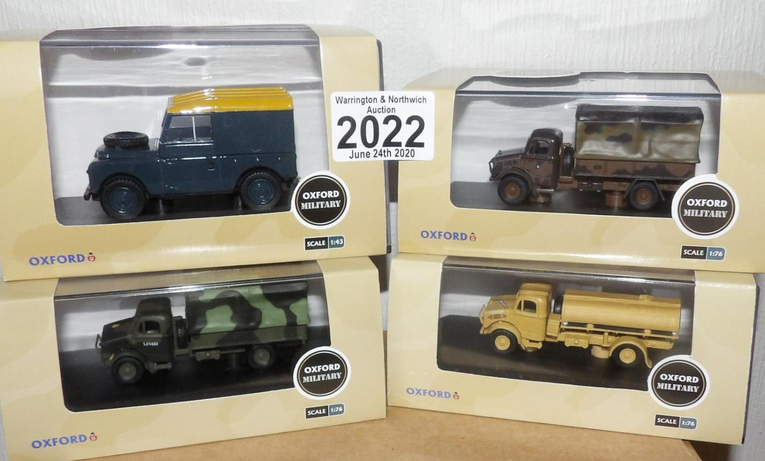 Lot 2022 - Oxford 1.76 Scale x 4 Mixed Military Vehicles. P&P Group 2 (£18+VAT for the first lot and £2+VAT for