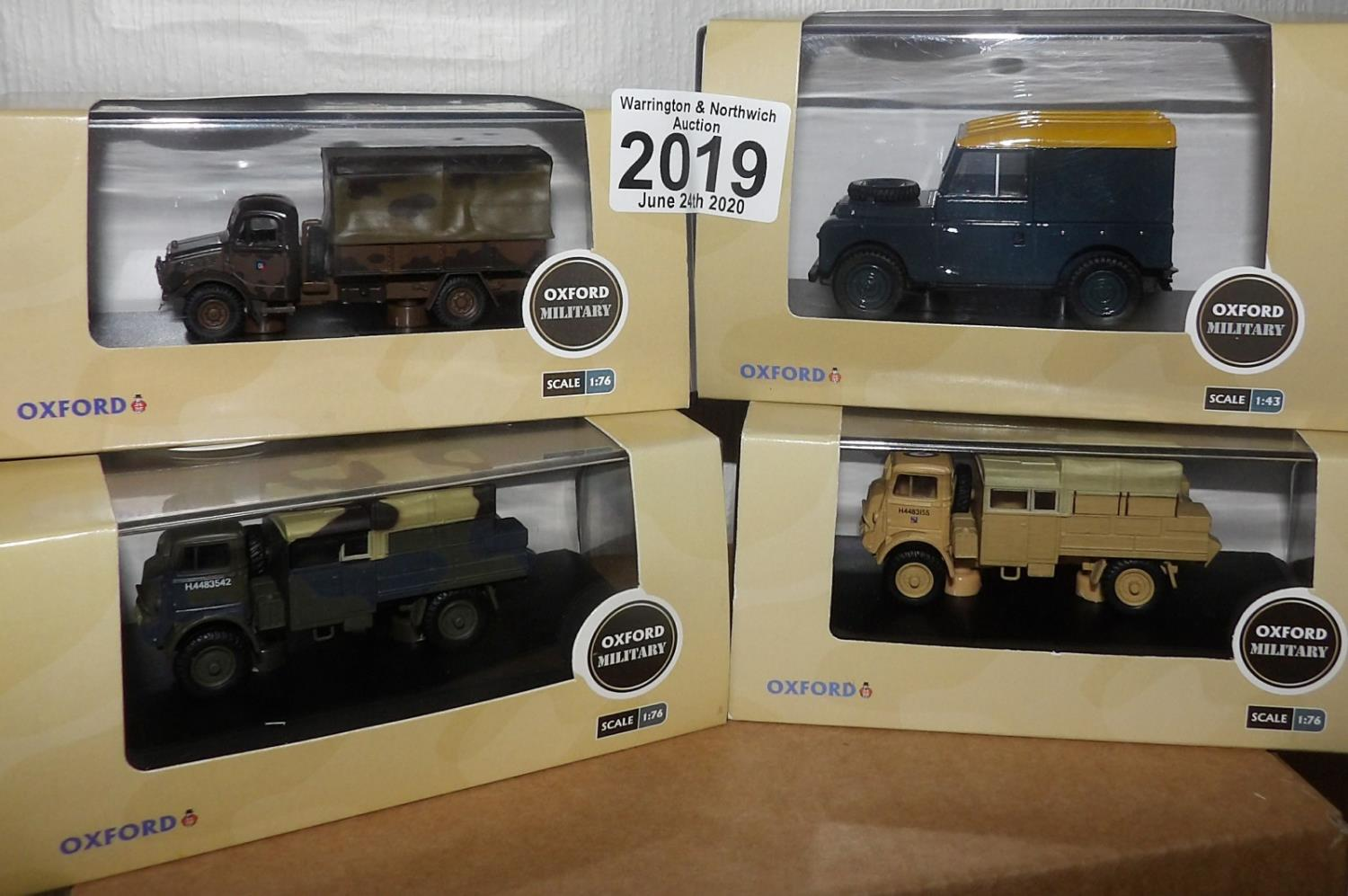 Lot 2019 - Oxford 1.76 Scale x 4 Mixed Military Vehicles. P&P Group 2 (£18+VAT for the first lot and £2+VAT for