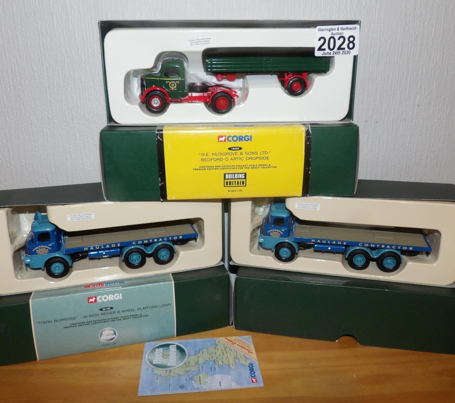 Lot 2028 - Corgi 1.50 Scale x 3 H.E. Musgrove Bedford + 2 x Tyson Burridge 6 wheel Albion Reivers. P&P Group