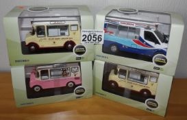 Oxford 1.43 Scale x 4 Mixed Ice Cream Vans. P&P Group 2 (£18+VAT for the first lot and £2+VAT for