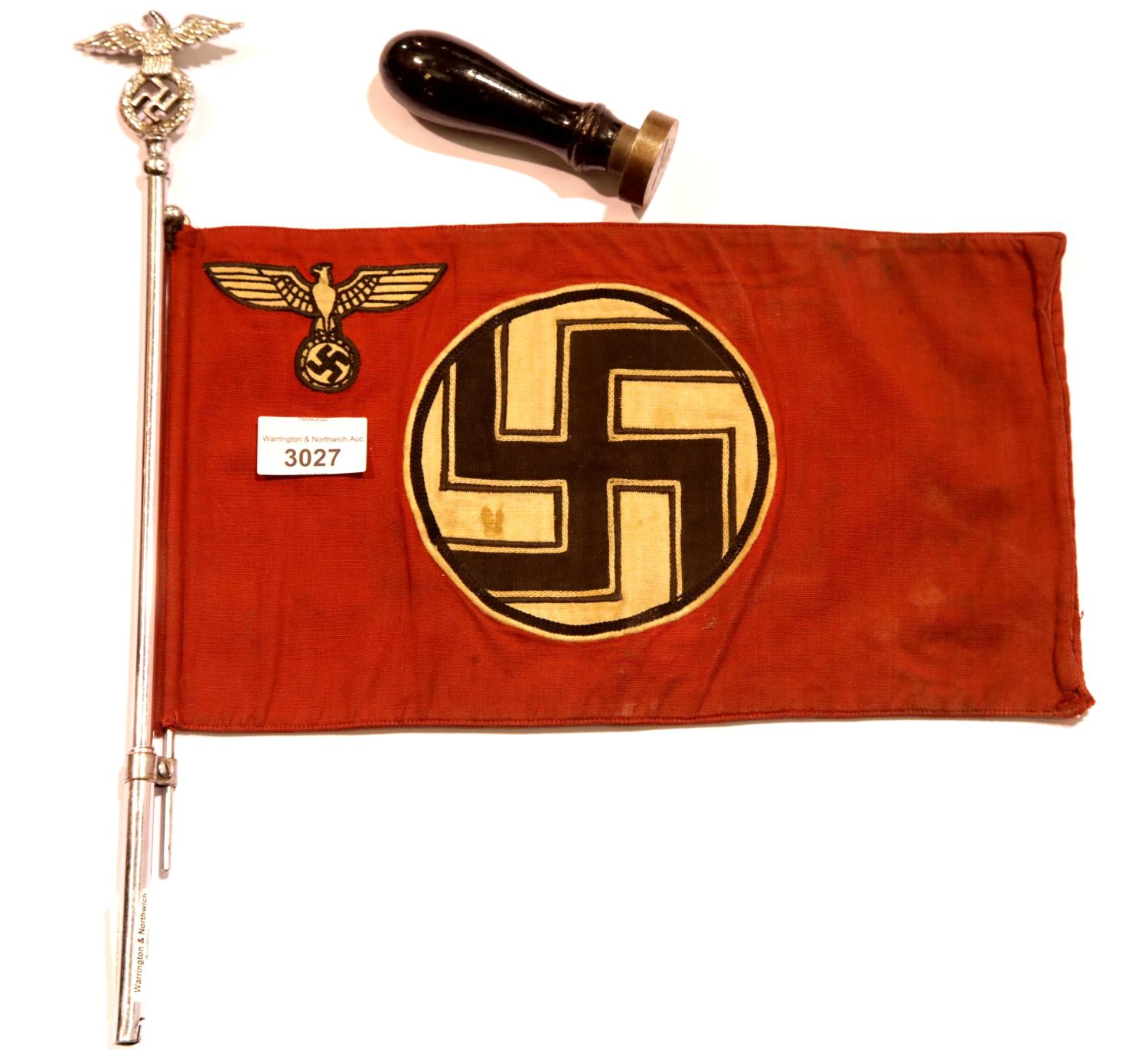 Lot 3027 - German WWII type car pennant on a chromed eagle and swastika pole and two Nazi wooden handled