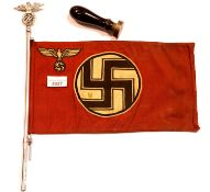 German WWII type car pennant on a chromed eagle and swastika pole and two Nazi wooden handled