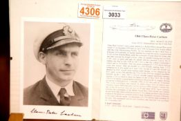 Oberleutnant Claus-Peter Carlsen, Commander of U-732 signed photograph with information. Posted