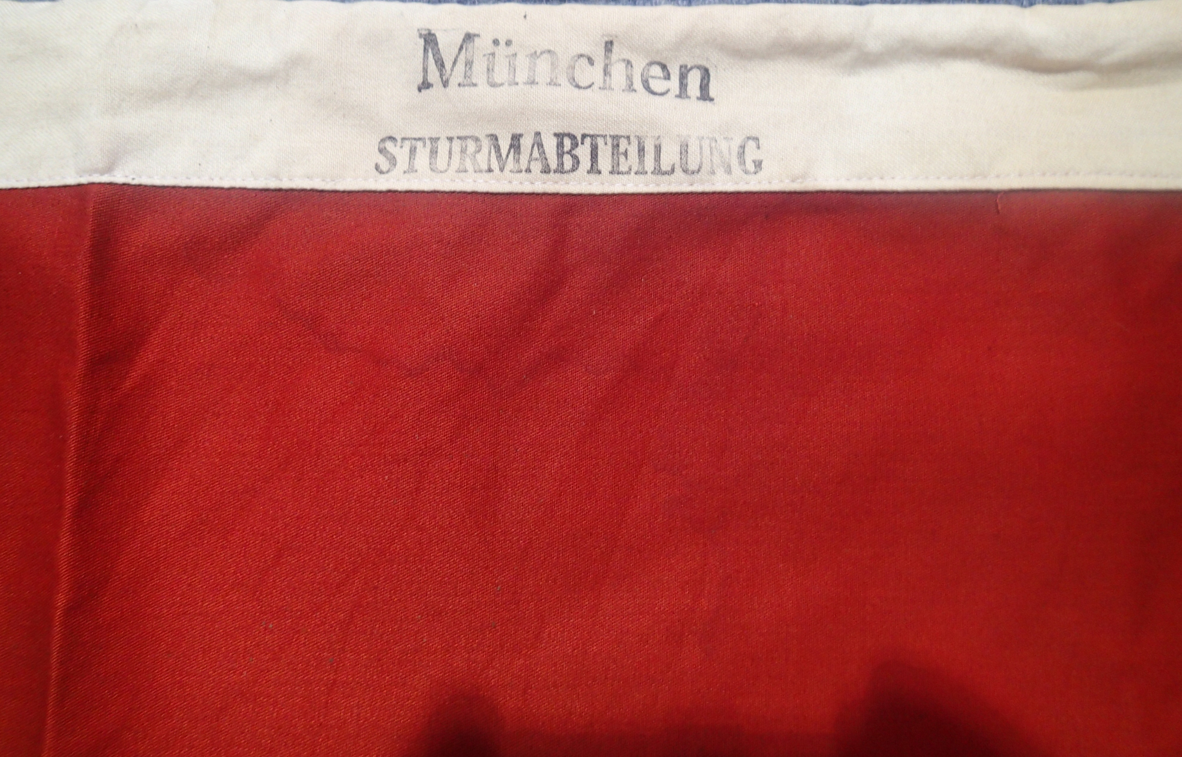 Lot 3008 - German Third Reich type flag marked München Sturmabteilung (SA) size 85 x 150 dated 1934. P&P